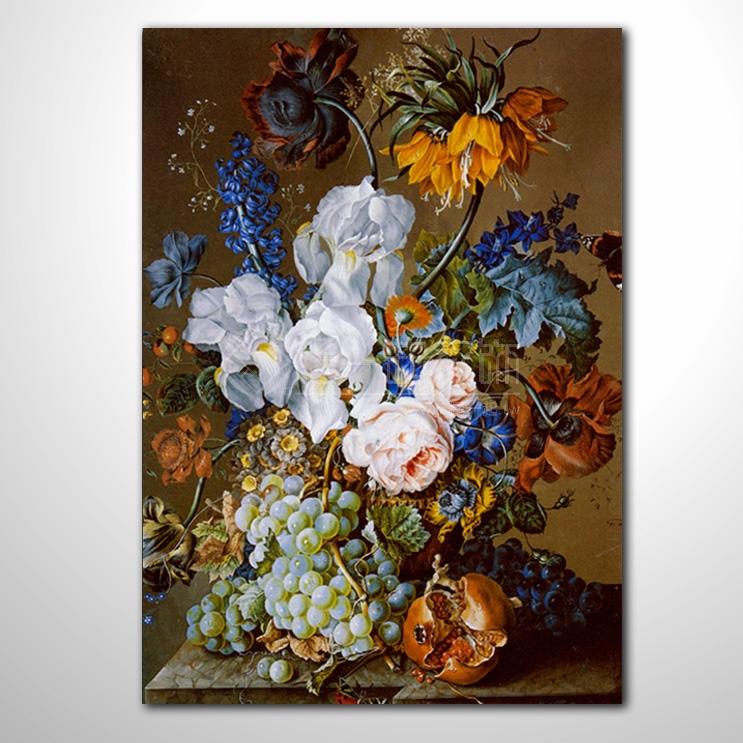 欧式古典花卉 1286 纯手绘 花卉油画 精致的花卉静物与石榴,葡萄和