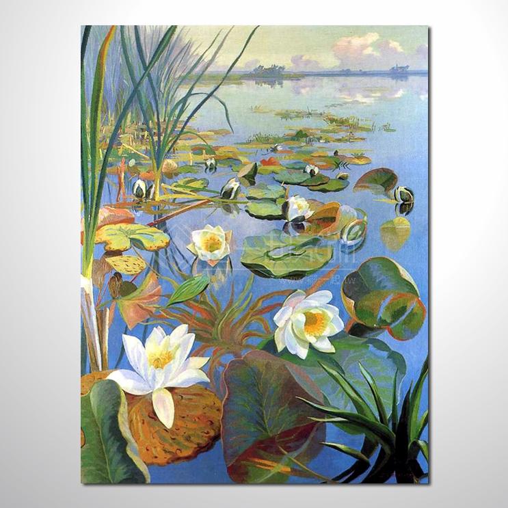 睡莲67 纯手绘油画 荷包满满 花卉油画 山水画品 艺术品 作品 画饰 无
