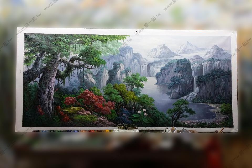 纯手绘油画 - 靠山图画