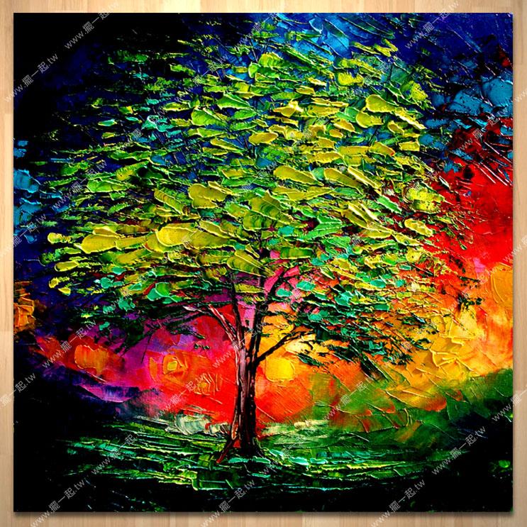 发财树 如意花 - 刀画_总分类_油画 画的专家 摆一起