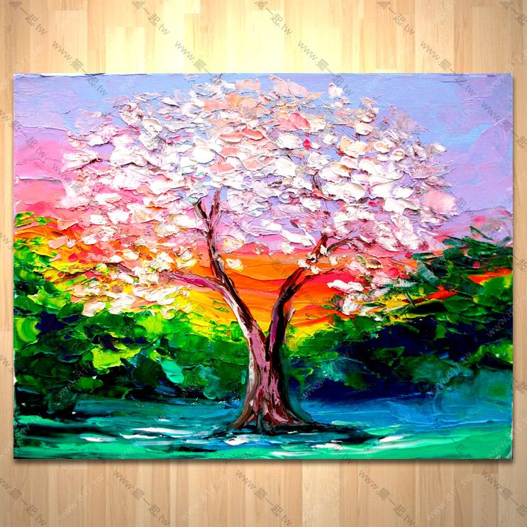 发财树017 纯手绘油画 横幅.