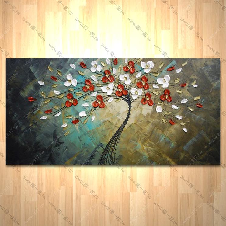 纯手绘油画 横幅 厚花 肌理优 招财 风水 刀画 无框画 玄关 室内设计