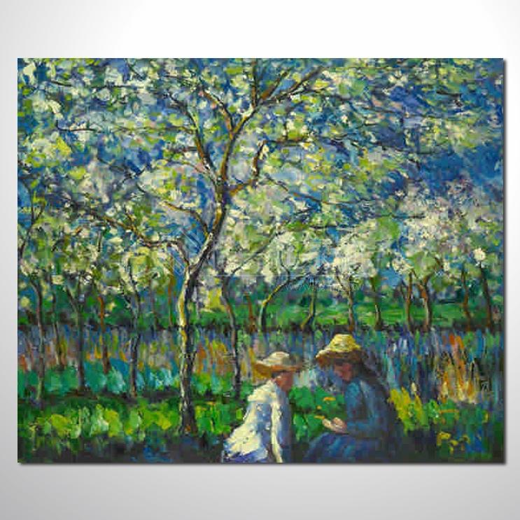 母亲与孩子 临摹莫内名画 油画 横幅 蓝绿 冷色系 印象 motel pub