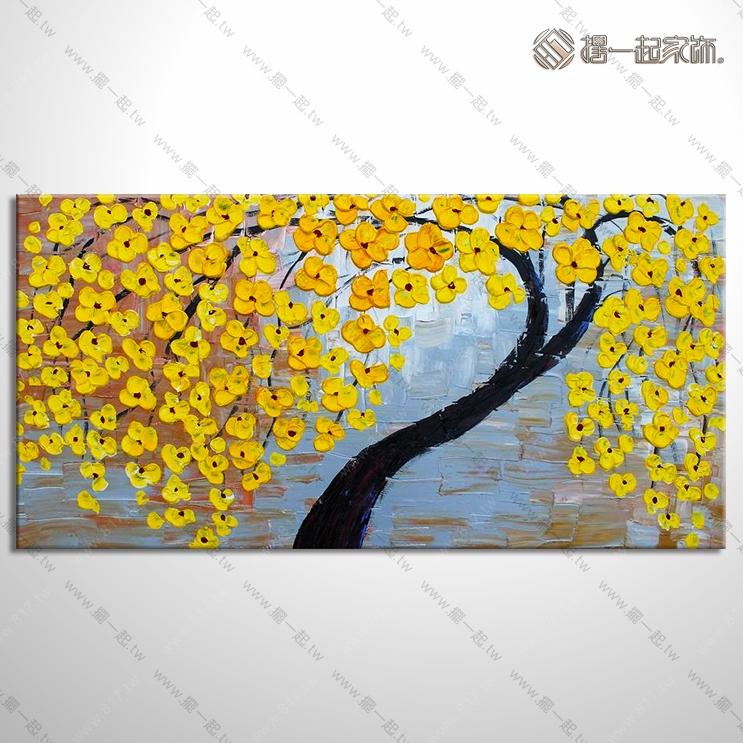 开运发财树油画-厚刀画