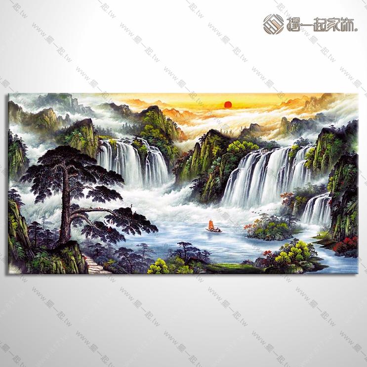 山水画-八方聚财风水油画 1zrhel002 纯手绘油画 元宝
