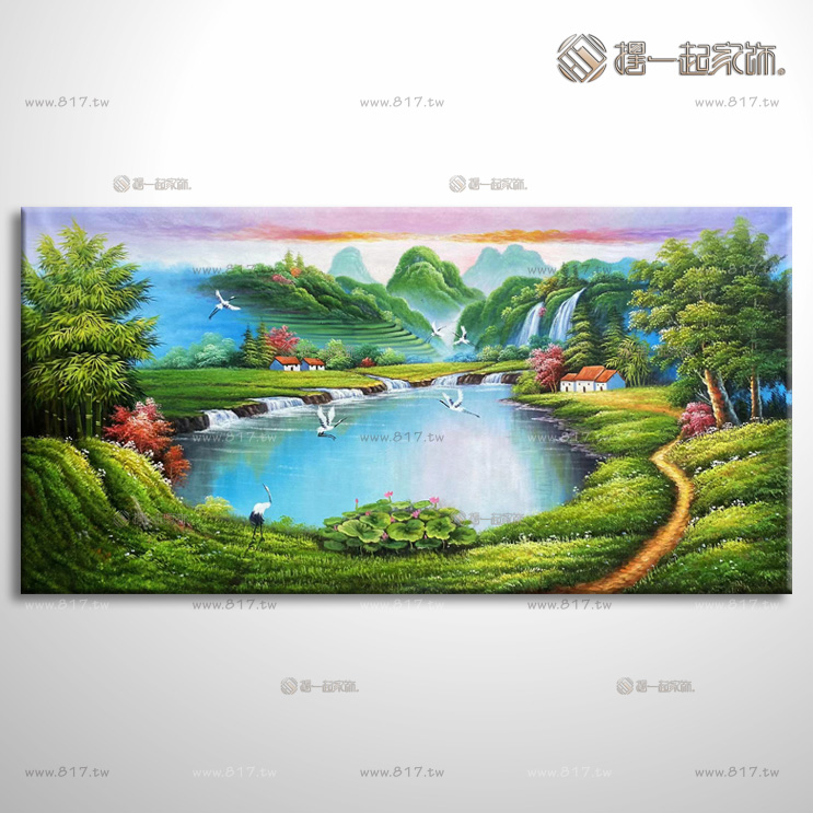 山水画-八方聚财风水油画 1zrhhl028 纯手绘油画 元宝