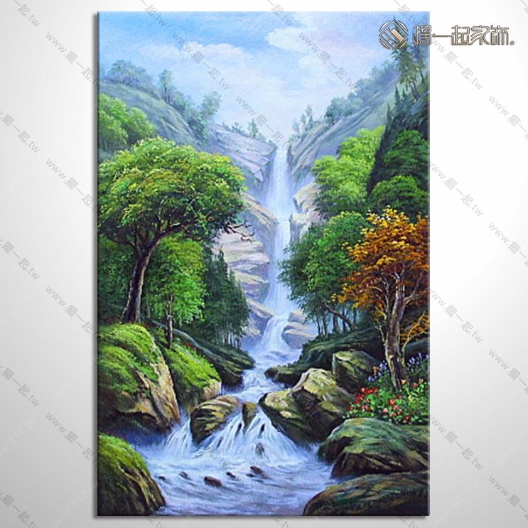 山水画-八方聚财风水油画 1zrhoi010 纯手绘油画 元宝
