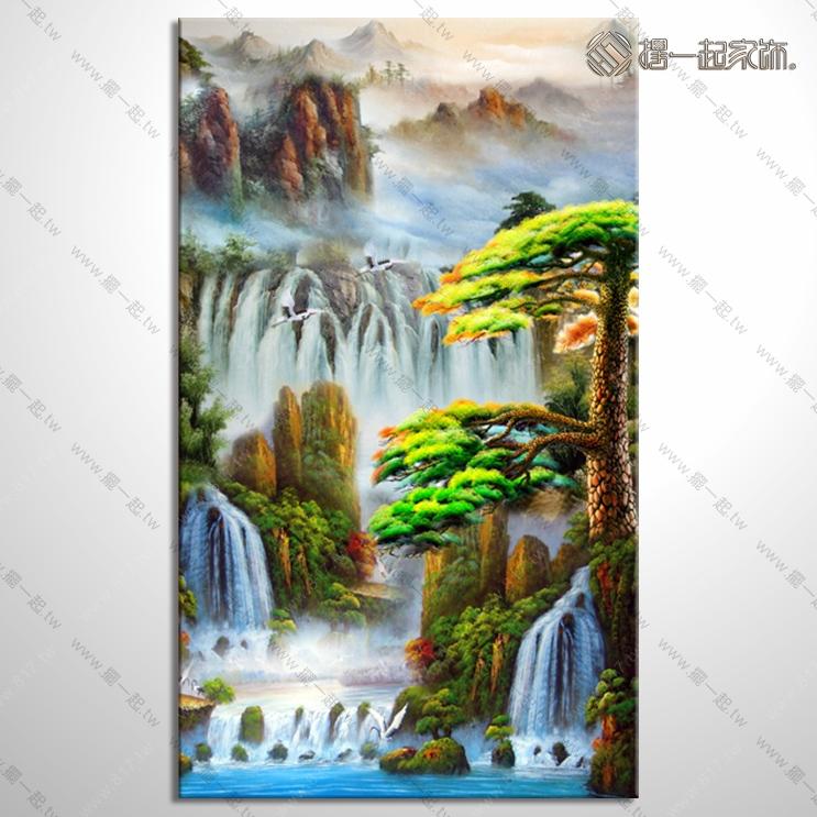 山水画-八方聚财风水油画 1zrhoi017 纯手绘油画 元宝