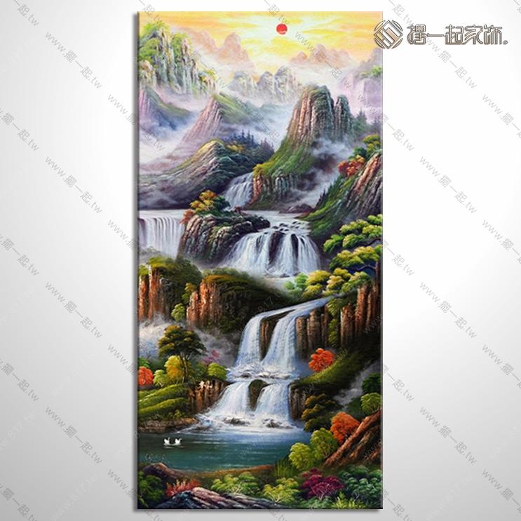 山水画-八方聚财风水油画 1zrhoi023 纯手绘油画 元宝