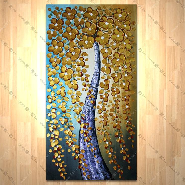 发财树003 纯手绘油画 直幅 厚花 肌理优 招财 风水 刀画 无框画 玄关