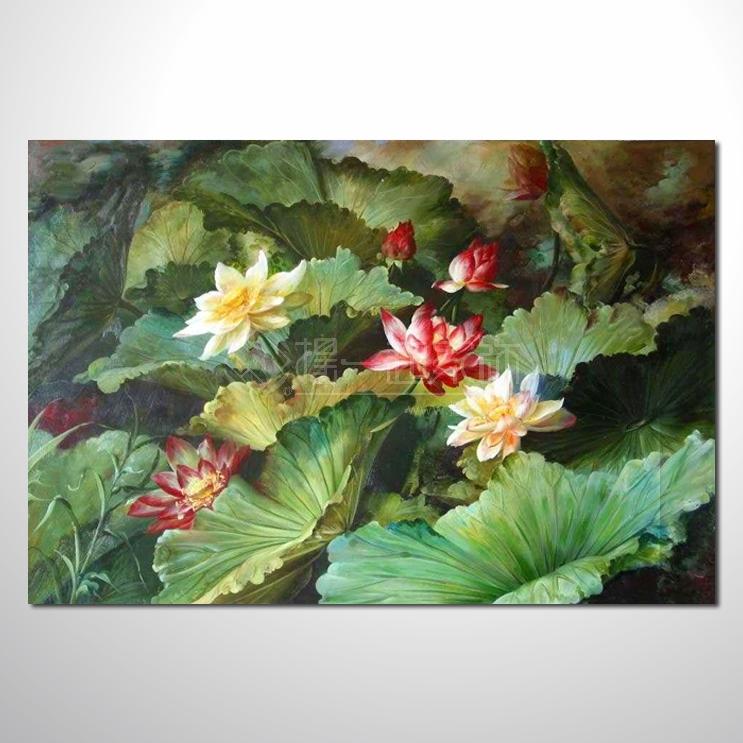荷花32 纯手绘油画 荷包满满 花卉油画 山水画品 艺术