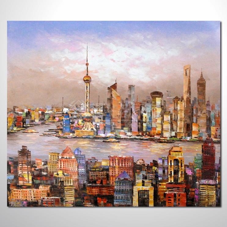上海景02 风景油画 异国街景风情 对比色调 绝佳氛围
