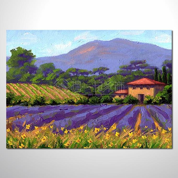 紫恋薰衣草121 香气 乡村风景 山水油画 纯手绘 油画
